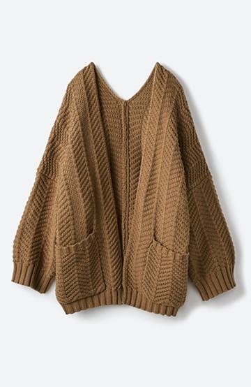 haco! パッと羽織るだけでいつものコーデがぐんとかわいくなれる! 柄編みニットカーディガン <ライトブラウン>の商品写真