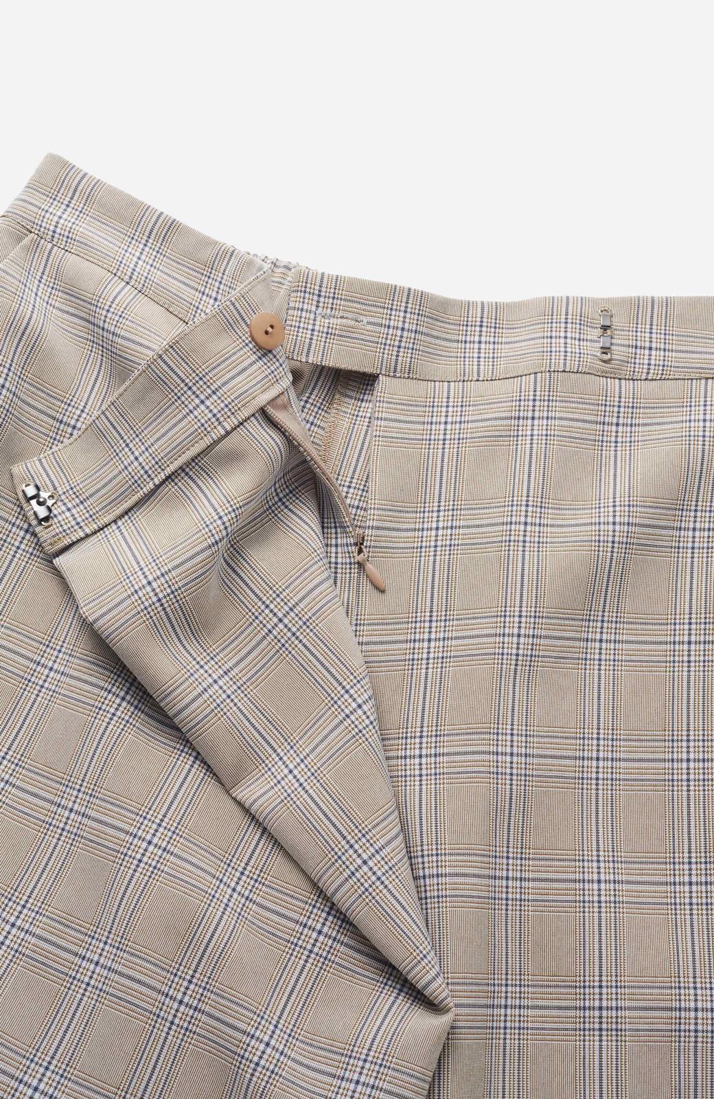 haco! 動きやすいのにちゃんと女子見え スカートみたいな華やかチェックパンツ <ブラウン系その他>の商品写真3