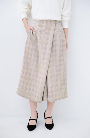 haco! 動きやすいのにちゃんと女子見え スカートみたいな華やかチェックパンツ <ブラウン系その他>の商品写真