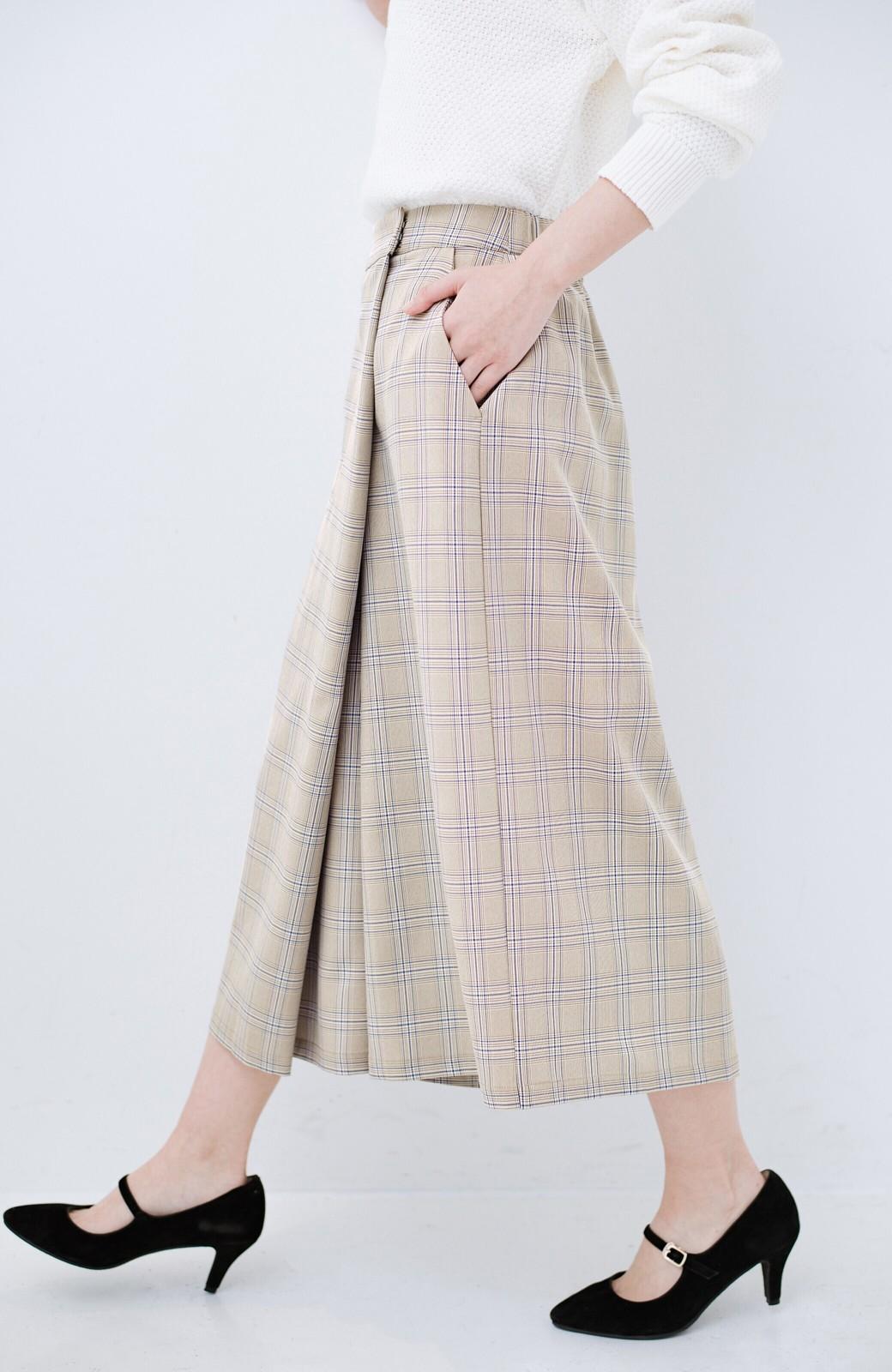 haco! 動きやすいのにちゃんと女子見え スカートみたいな華やかチェックパンツ <ブラウン系その他>の商品写真4