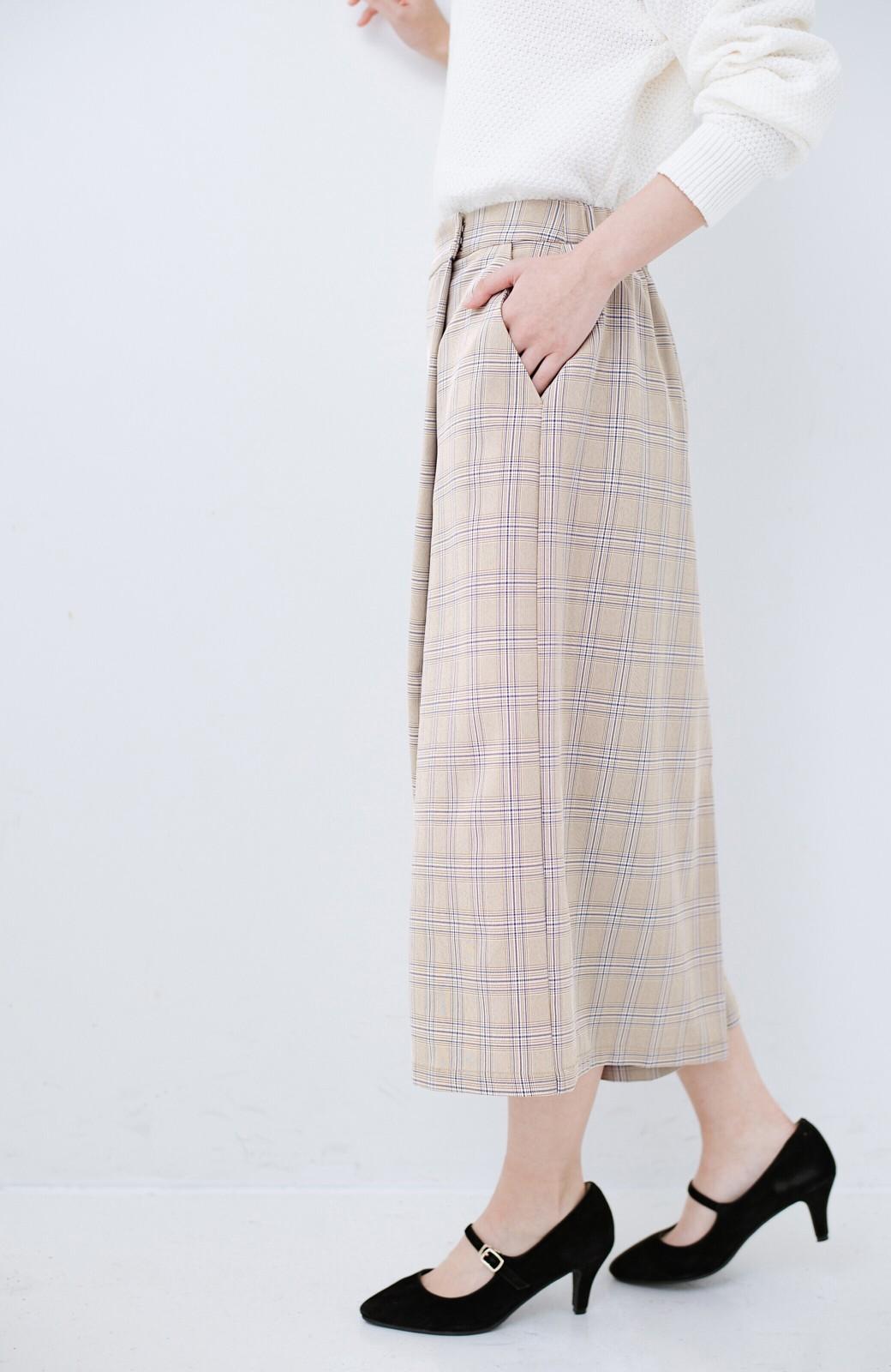 haco! 動きやすいのにちゃんと女子見え スカートみたいな華やかチェックパンツ <ブラウン系その他>の商品写真5