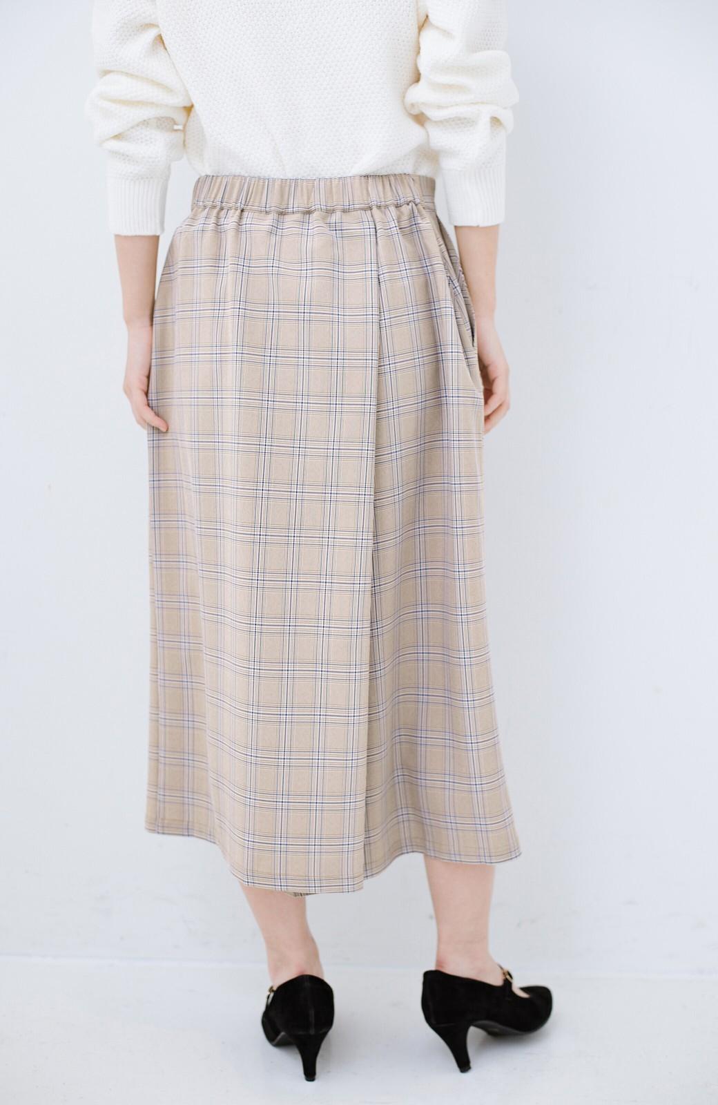 haco! 動きやすいのにちゃんと女子見え スカートみたいな華やかチェックパンツ <ブラウン系その他>の商品写真6