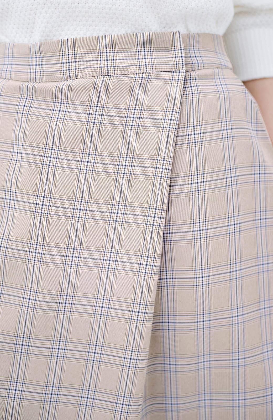haco! 動きやすいのにちゃんと女子見え スカートみたいな華やかチェックパンツ <ブラウン系その他>の商品写真7