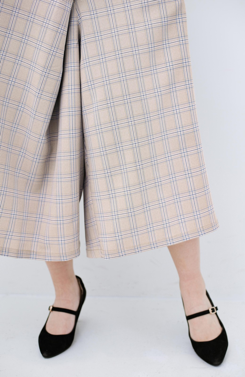 haco! 動きやすいのにちゃんと女子見え スカートみたいな華やかチェックパンツ <ブラウン系その他>の商品写真8
