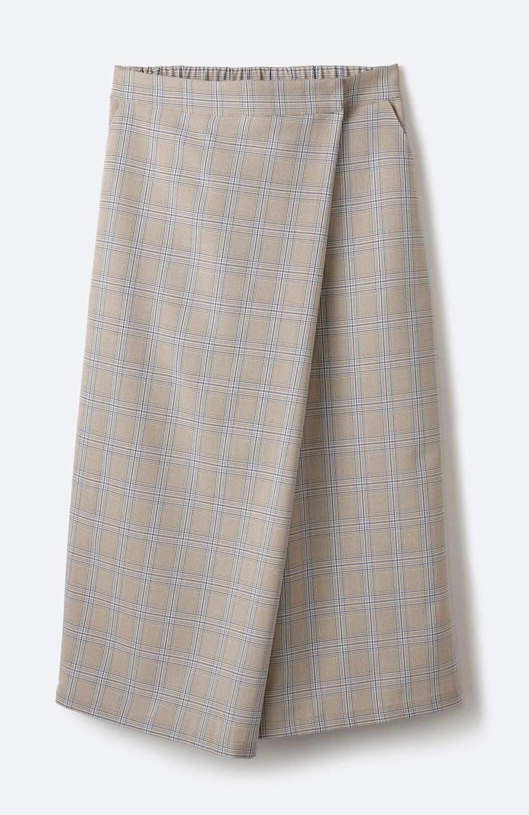 haco! 動きやすいのにちゃんと女子見え スカートみたいな華やかチェックパンツ <ブラウン系その他>の商品写真2