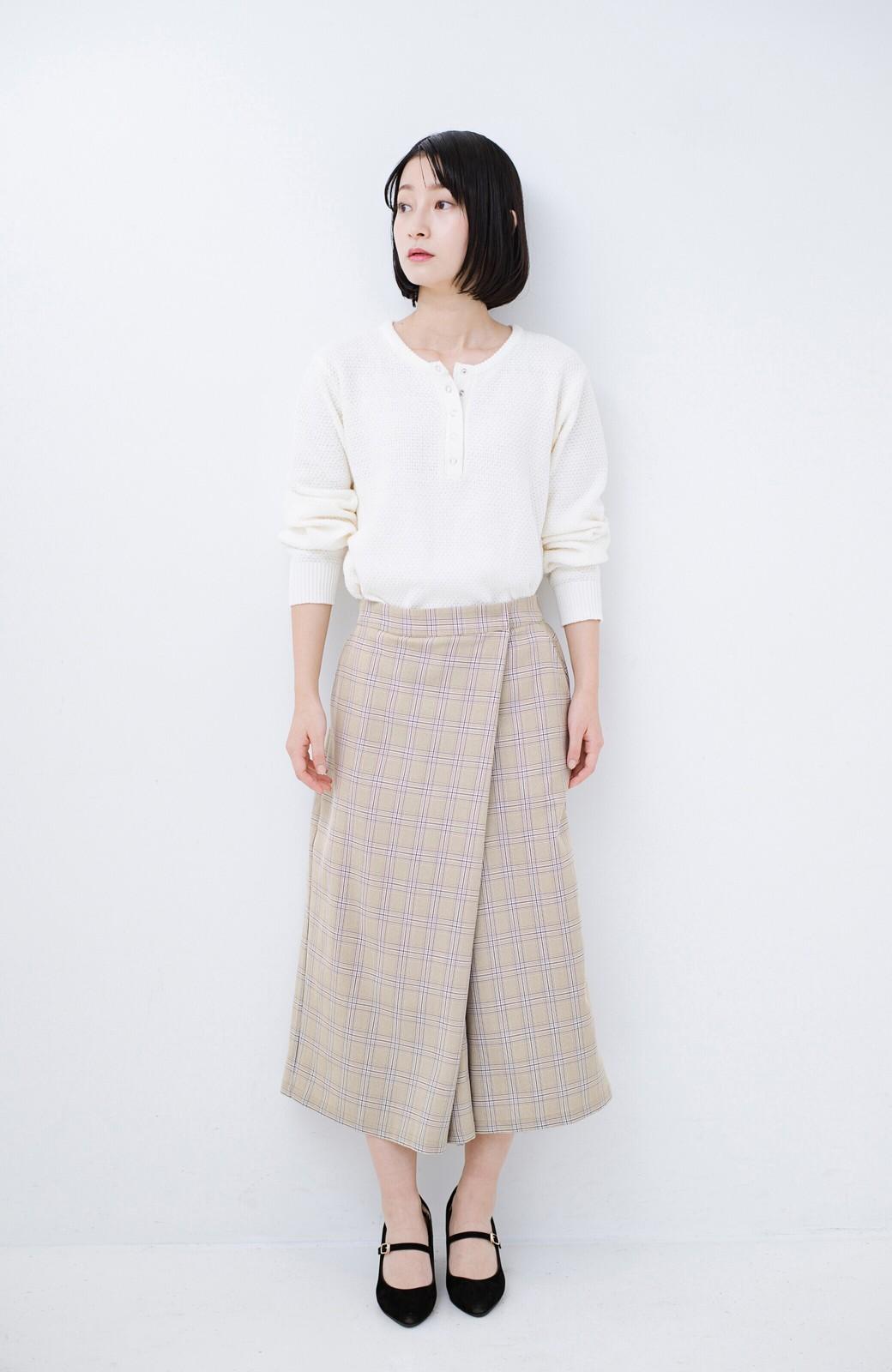 haco! 動きやすいのにちゃんと女子見え スカートみたいな華やかチェックパンツ <ブラウン系その他>の商品写真9