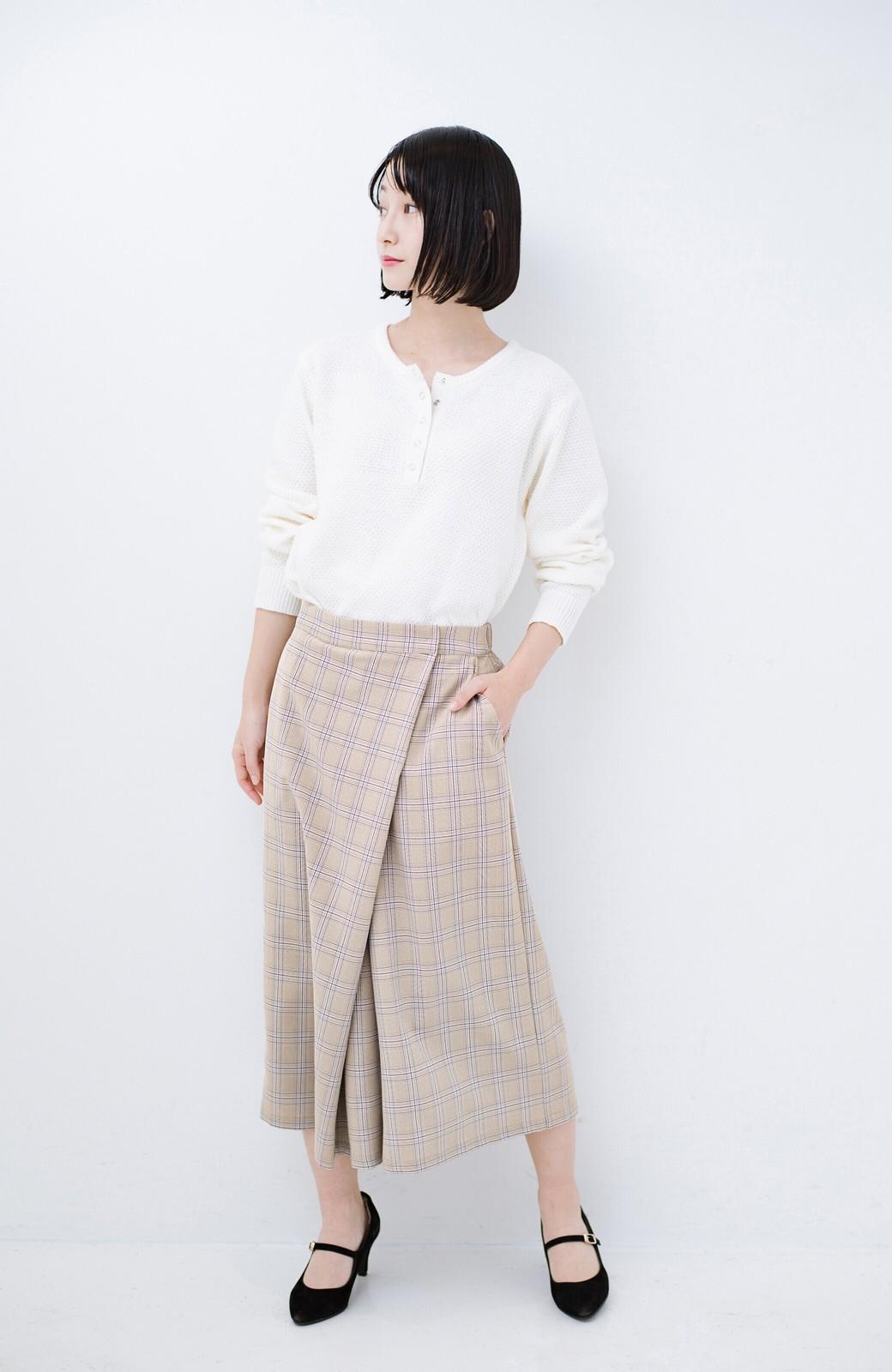 haco! 動きやすいのにちゃんと女子見え スカートみたいな華やかチェックパンツ <ブラウン系その他>の商品写真10