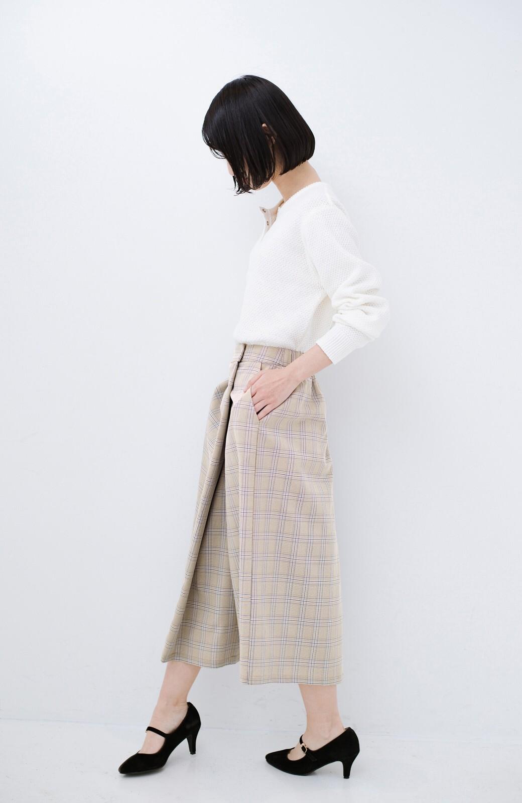 haco! 動きやすいのにちゃんと女子見え スカートみたいな華やかチェックパンツ <ブラウン系その他>の商品写真11