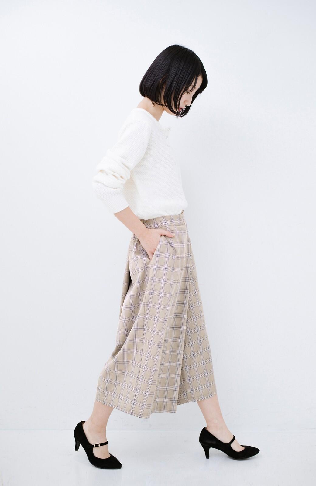 haco! 動きやすいのにちゃんと女子見え スカートみたいな華やかチェックパンツ <ブラウン系その他>の商品写真12