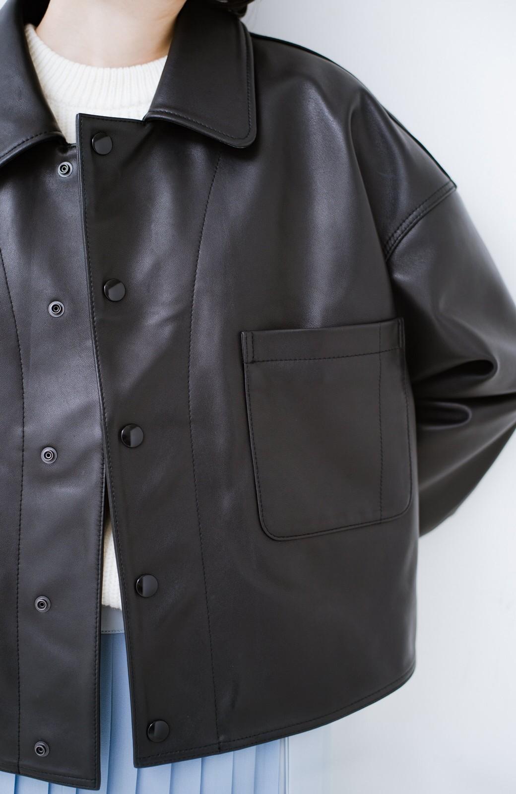 haco! BOLSISTA スナップボタンのレザージャケット<シングル> <ブラック>の商品写真4