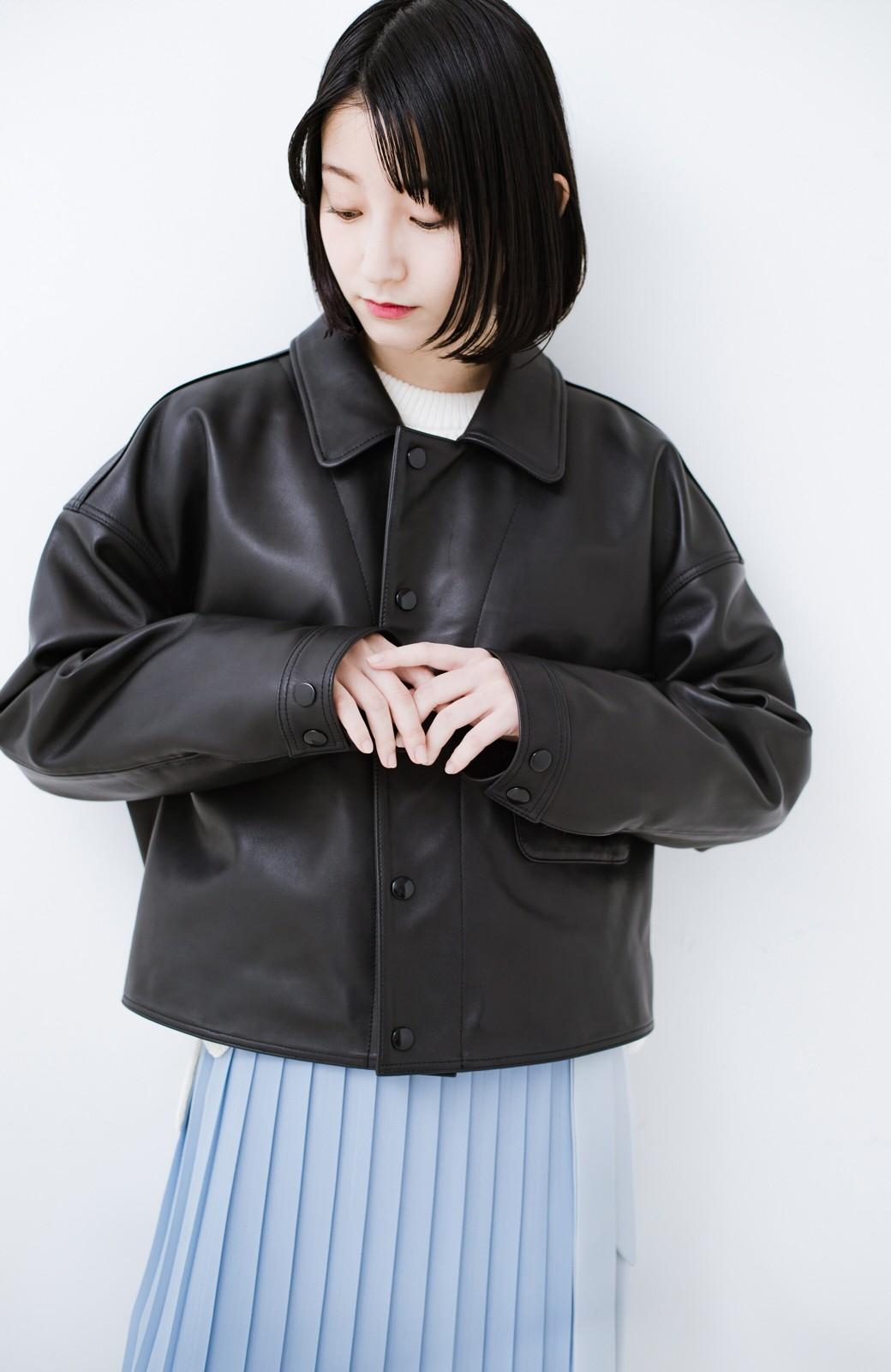 haco! BOLSISTA スナップボタンのレザージャケット<シングル> <ブラック>の商品写真9