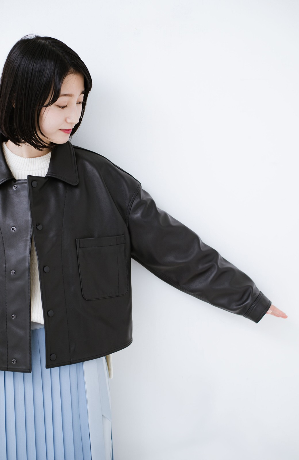 haco! BOLSISTA スナップボタンのレザージャケット<シングル> <ブラック>の商品写真10