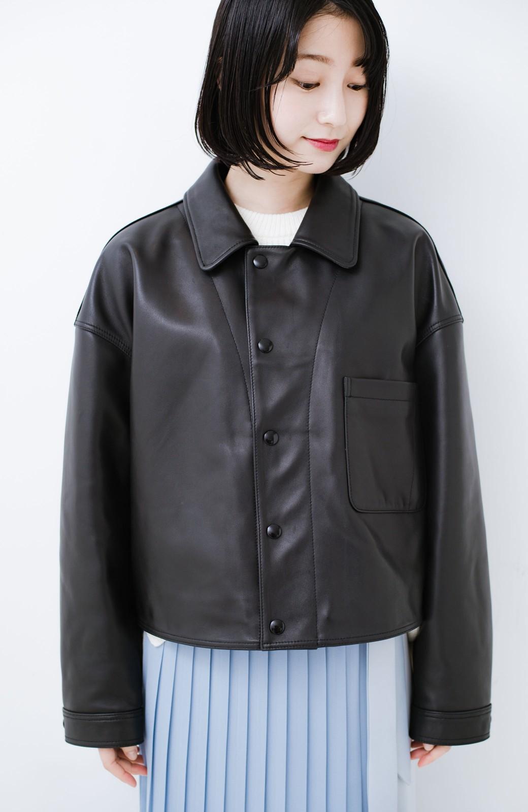 haco! BOLSISTA スナップボタンのレザージャケット<シングル> <ブラック>の商品写真11