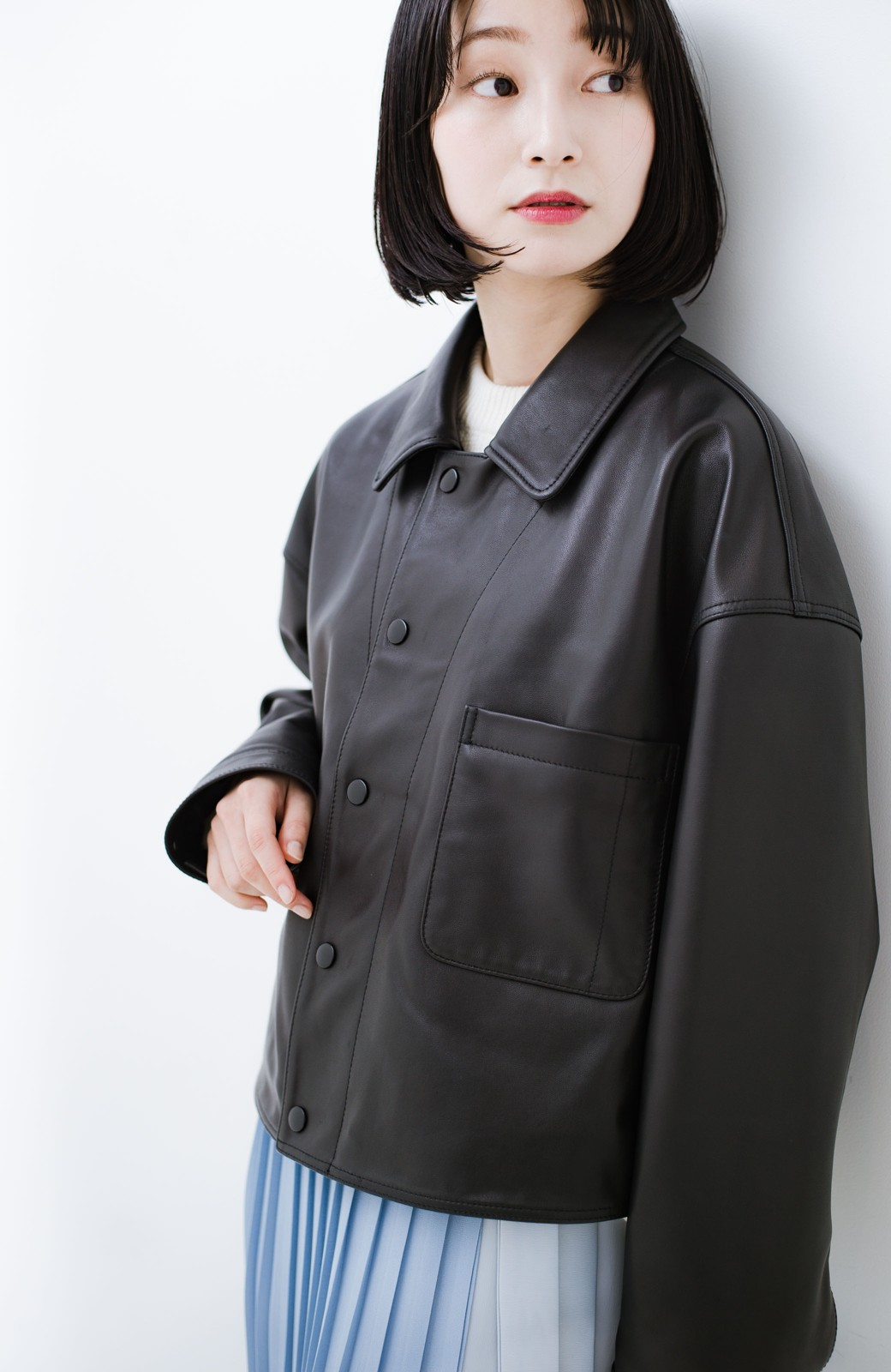 haco! BOLSISTA スナップボタンのレザージャケット<シングル> <ブラック>の商品写真14
