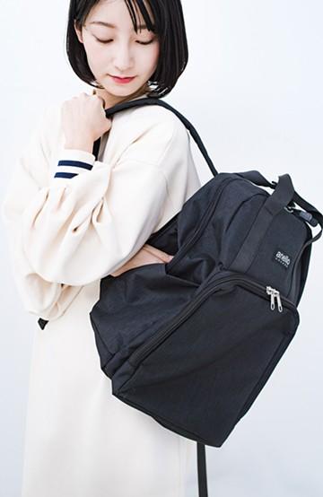 haco! anello GRANDE 微光沢杢調ポリエステル 10ポケットスクエアリュック <ブラック>の商品写真