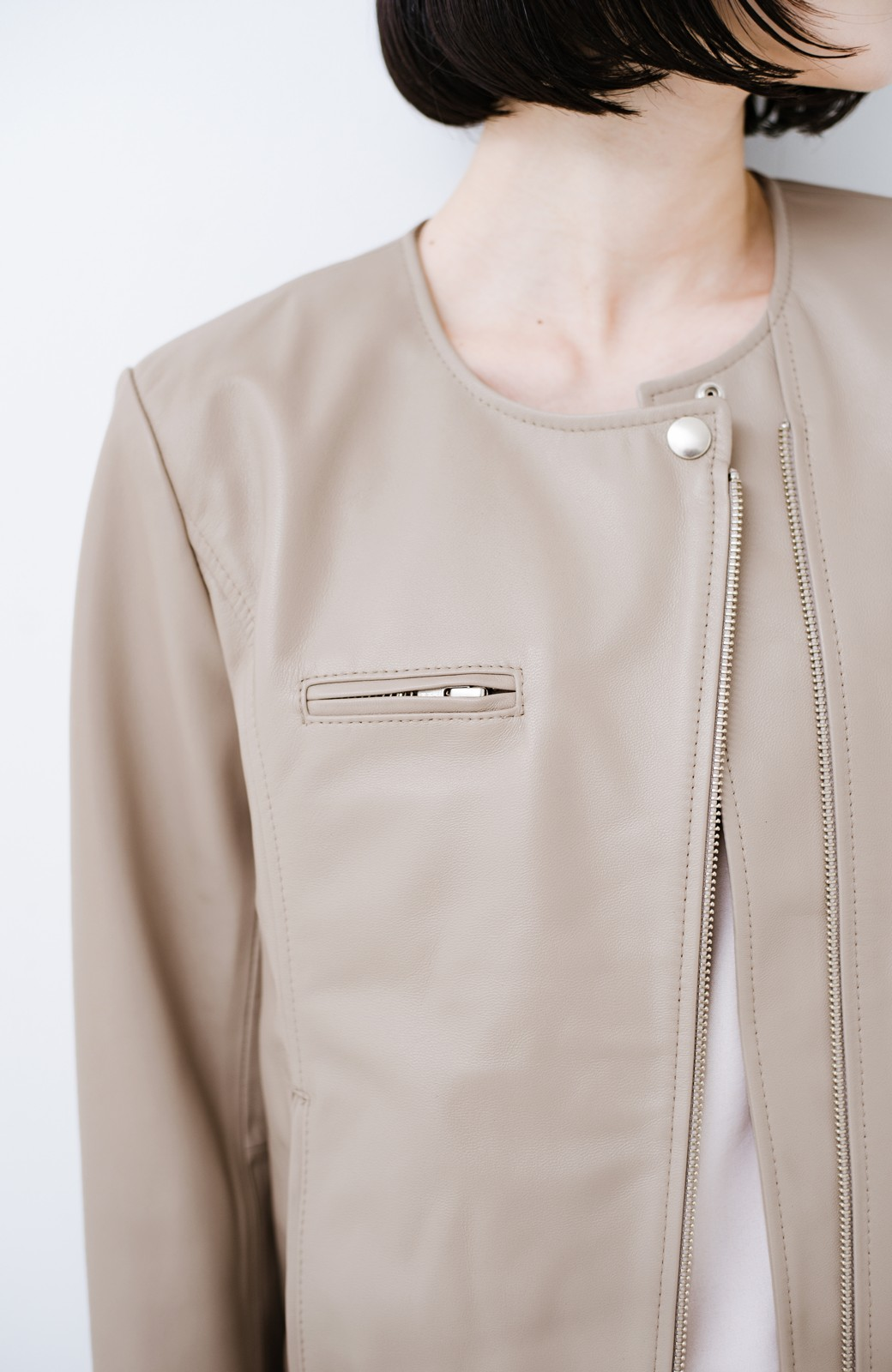 haco! 【限定入荷!!】BOLSISTA ライダースジャケット<シングル> <ライトグレー>の商品写真2