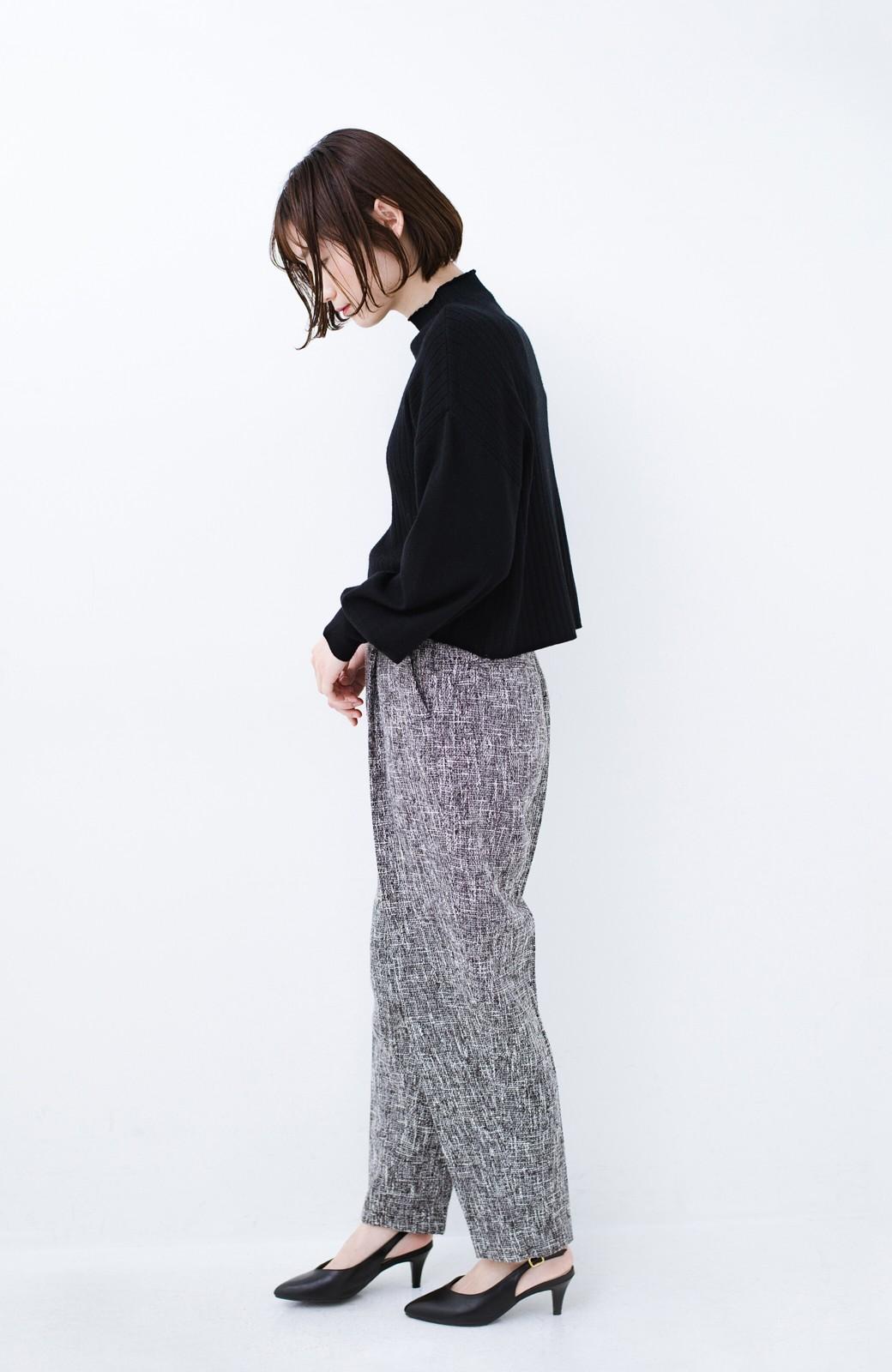 haco! きちんと見せたいときのツイード調パンツ by que made me <ブラック>の商品写真12