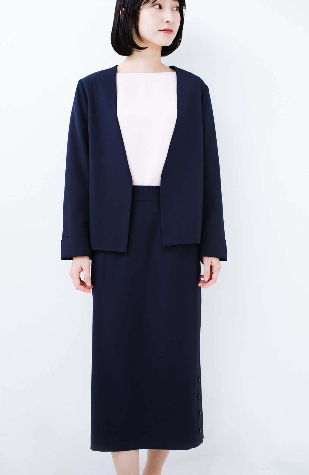 haco! 持っていると便利な 野暮ったくならないタイトスカート <ネイビー>の商品写真16