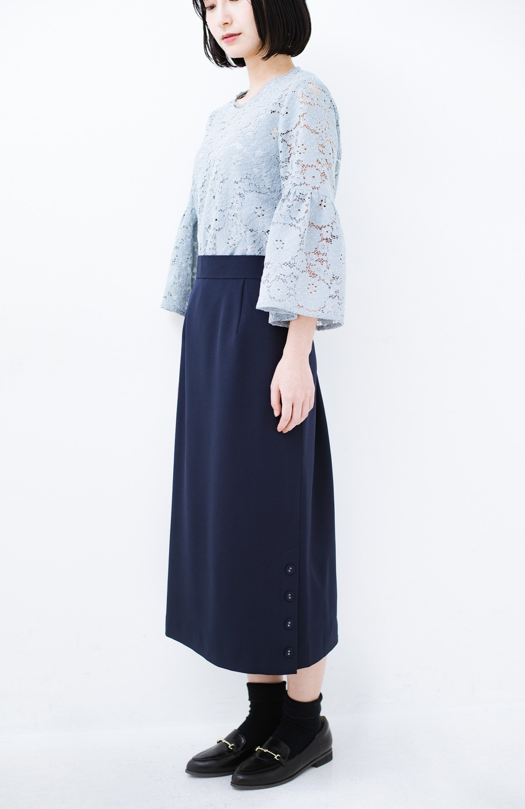 haco! 持っていると便利な 野暮ったくならないタイトスカート <ネイビー>の商品写真17
