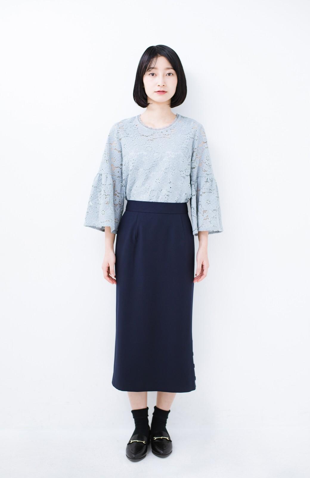 haco! 持っていると便利な 野暮ったくならないタイトスカート <ネイビー>の商品写真12