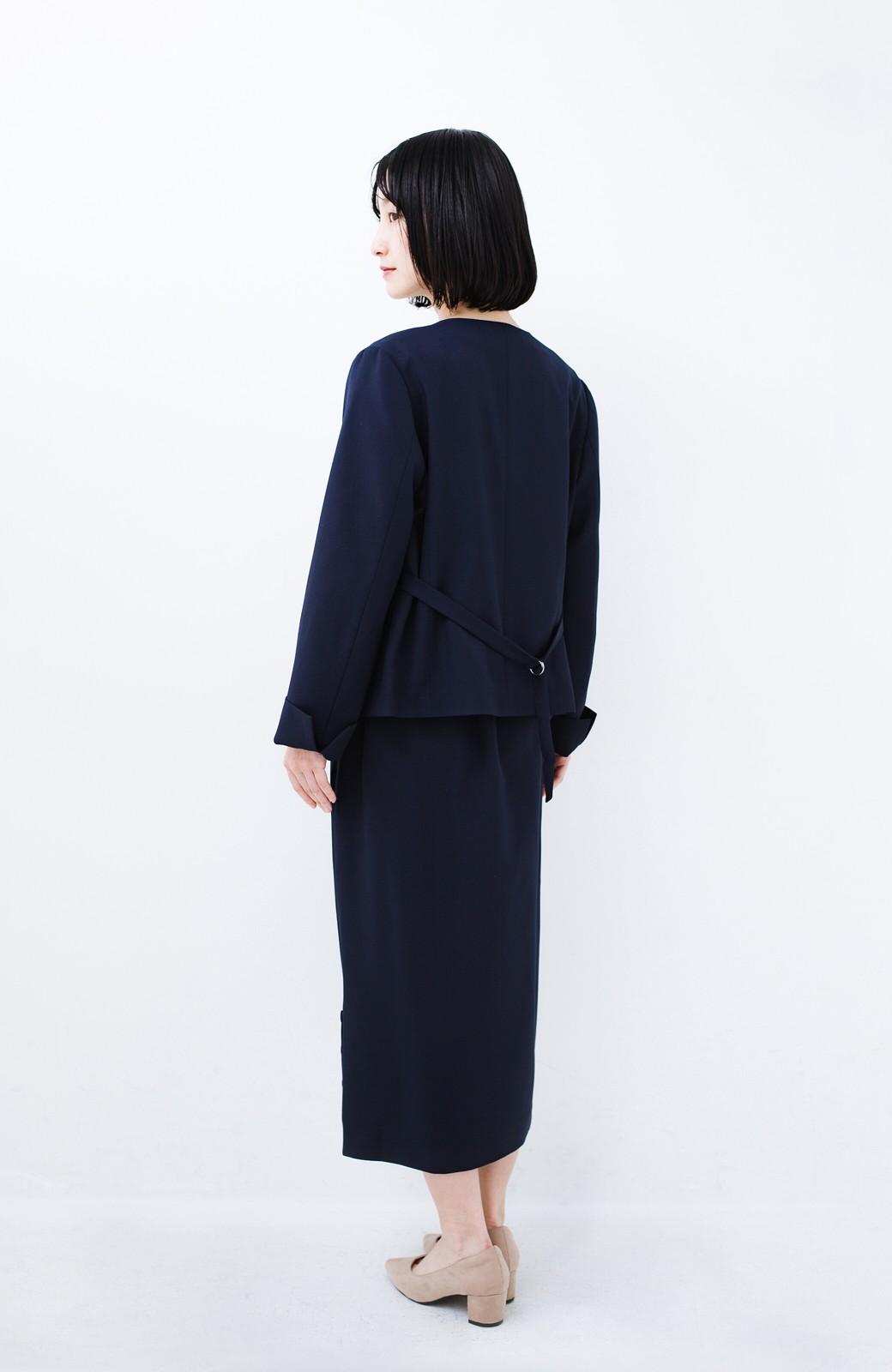 haco! 持っていると便利な野暮ったくならないフォーマルジャケット・スカートの2点セット <ネイビー>の商品写真7