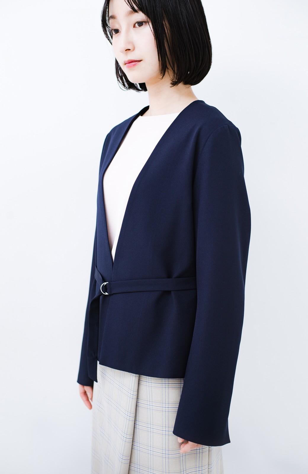 haco! 持っていると便利な野暮ったくならないフォーマルジャケット・スカートの2点セット <ネイビー>の商品写真9