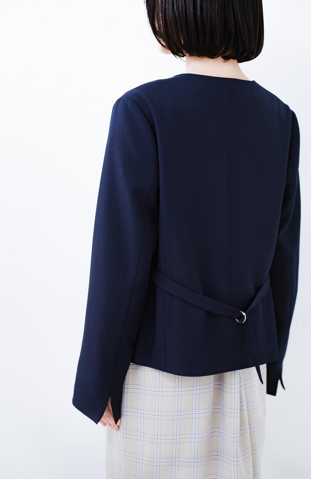 haco! 持っていると便利な野暮ったくならないフォーマルジャケット・スカートの2点セット <ネイビー>の商品写真10