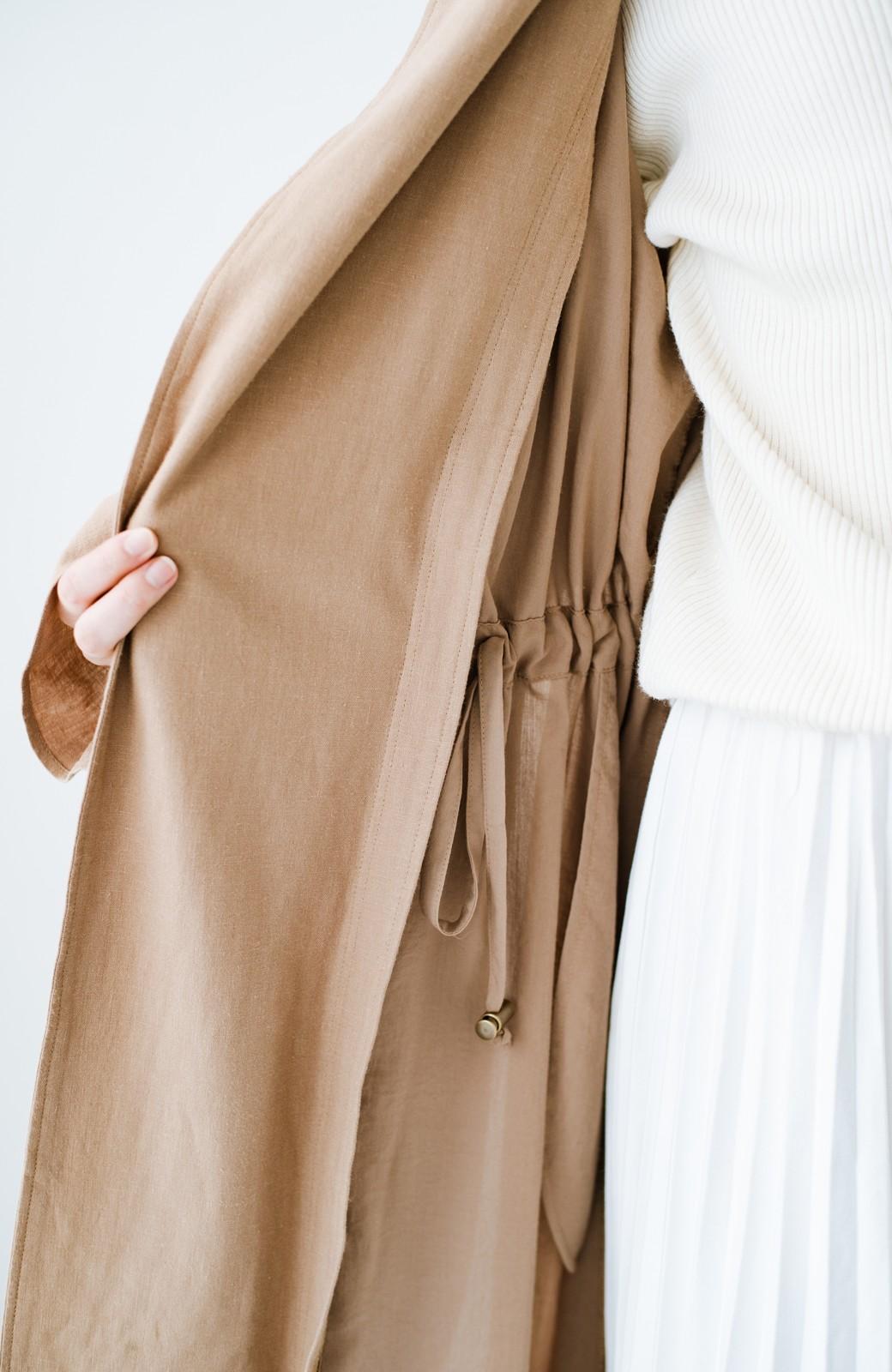 haco! パッと羽織るだけで今っぽ&女っぽが叶う 異素材づかいのロングコート <ベージュ>の商品写真5