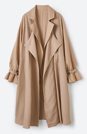 haco! パッと羽織るだけで今っぽ&女っぽが叶う 異素材づかいのロングコート <ベージュ>の商品写真