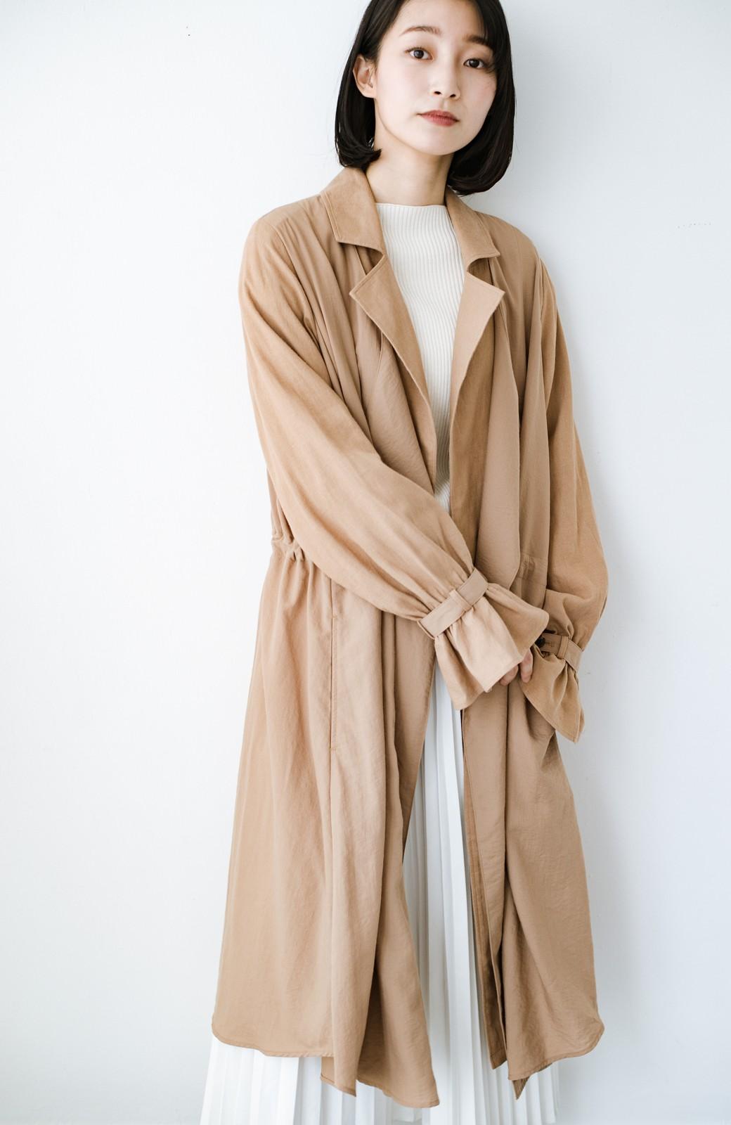 haco! パッと羽織るだけで今っぽ&女っぽが叶う 異素材づかいのロングコート <ベージュ>の商品写真13