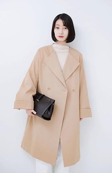 haco! 重ね着もできちゃうゆるシルエットで長ーーく着られるノーカラーコート<ベージュ>の商品写真