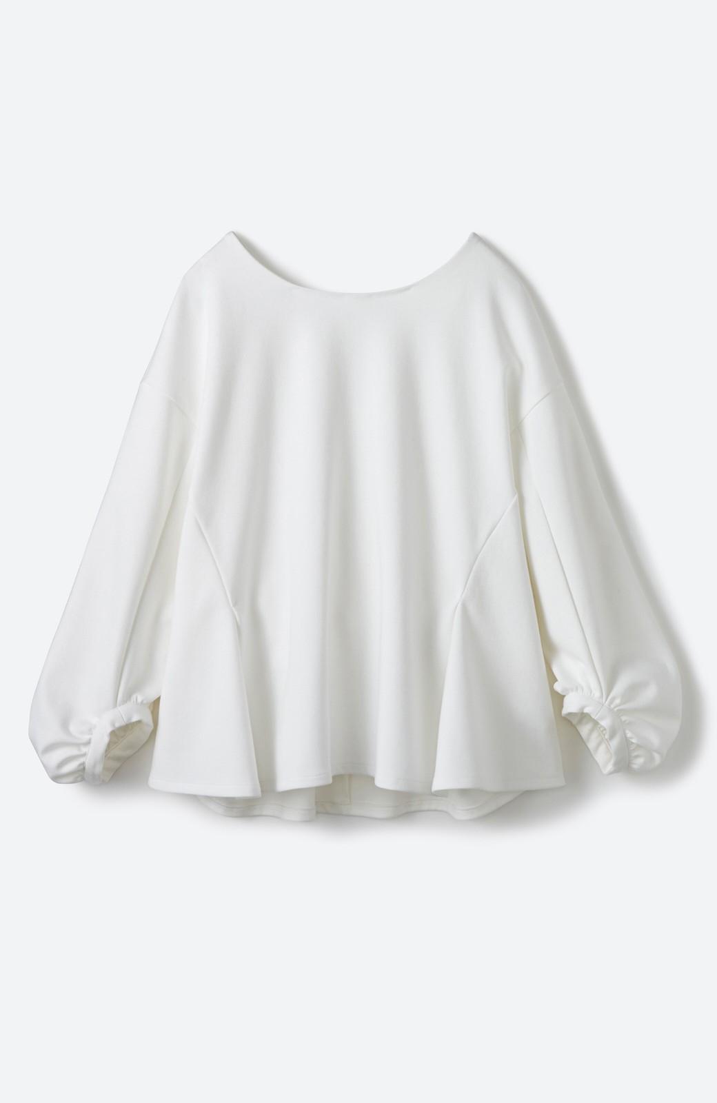 haco! アイロンいらずで気軽に着られるカットソーブラウス <ホワイト>の商品写真3