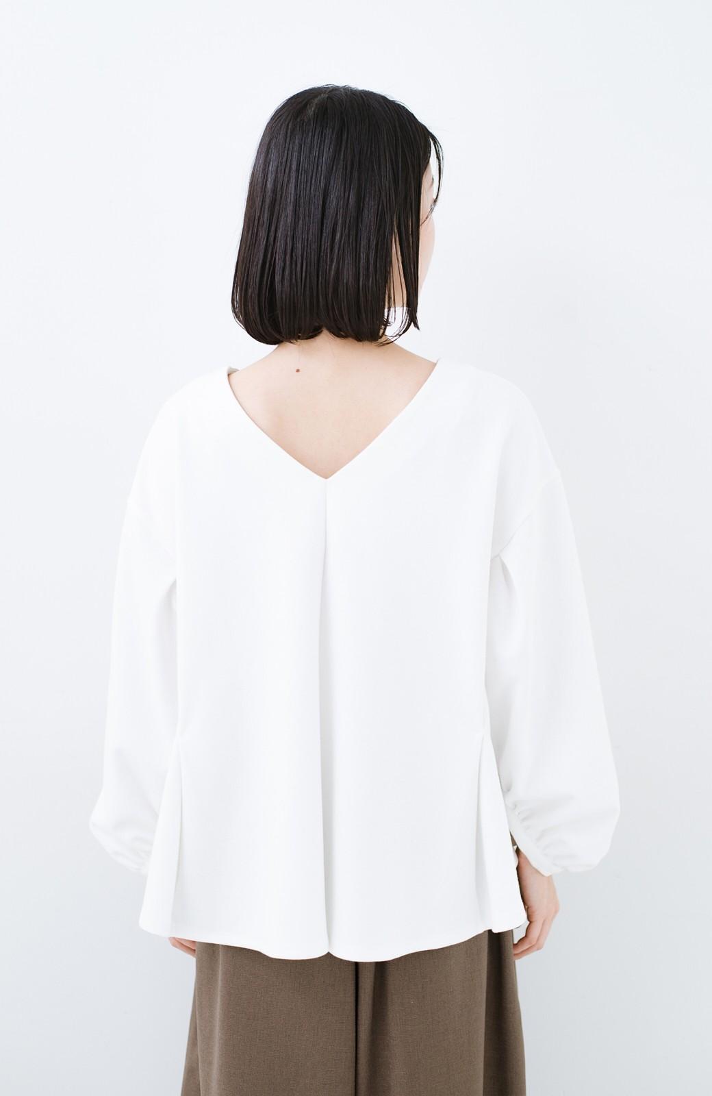 haco! アイロンいらずで気軽に着られるカットソーブラウス <ホワイト>の商品写真12