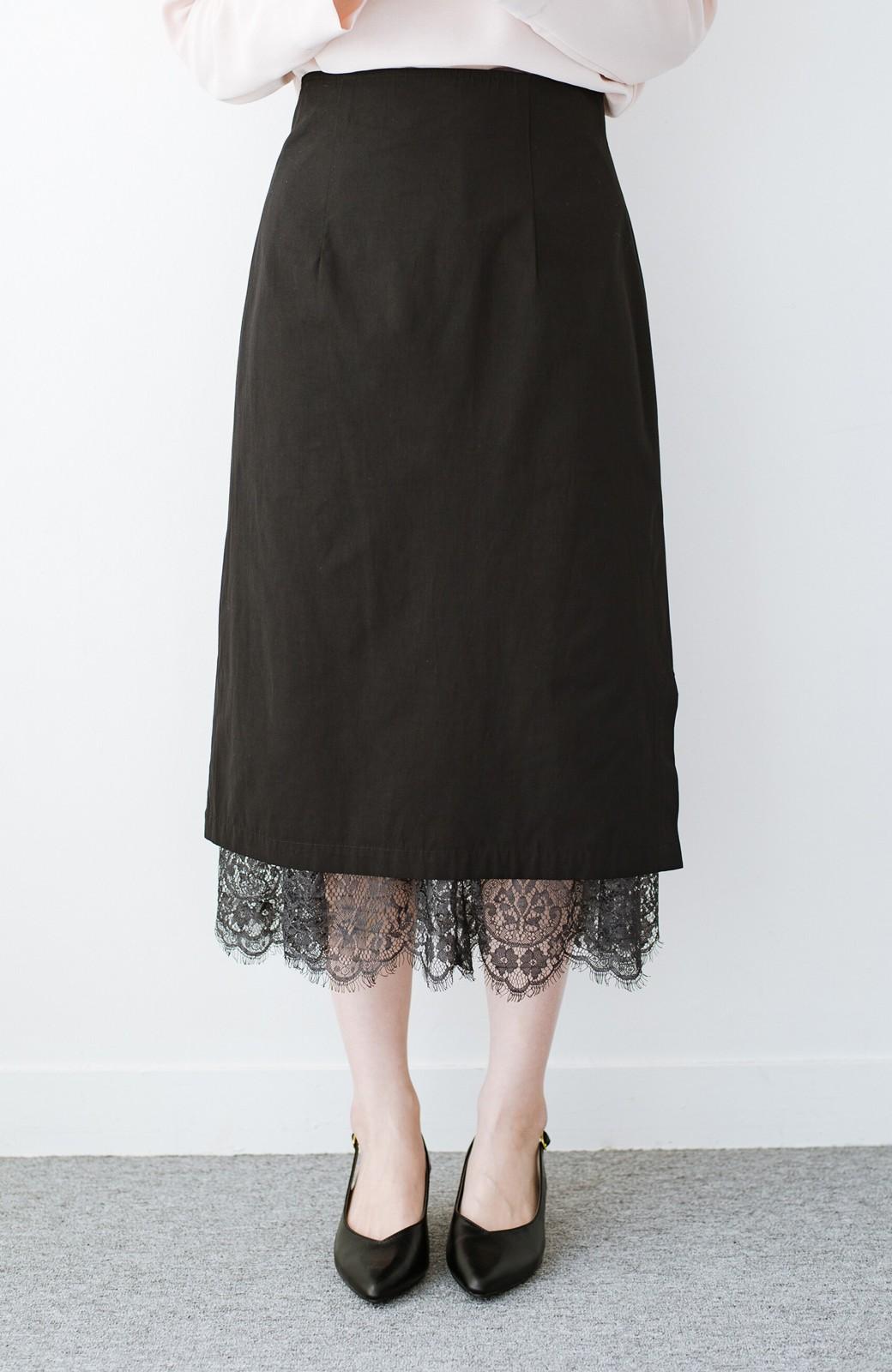 haco! はくだけで華やかなきれいシルエットの重ねタイトスカート by MAKORI <ブラック>の商品写真1