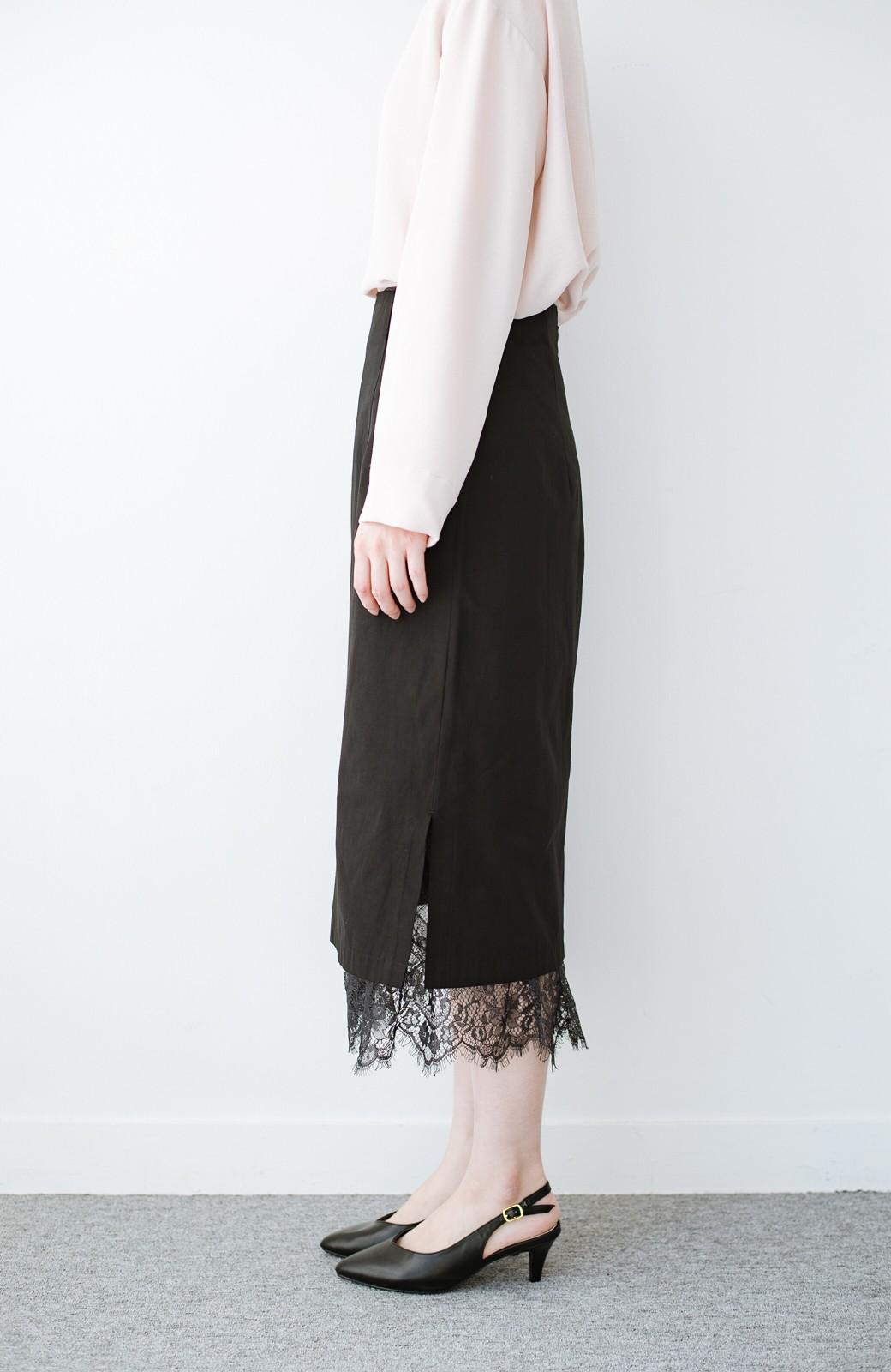 haco! はくだけで華やかなきれいシルエットの重ねタイトスカート by MAKORI <ブラック>の商品写真5