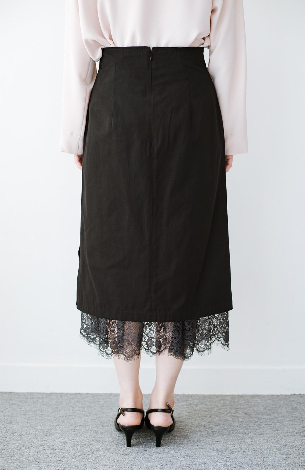 haco! はくだけで華やかなきれいシルエットの重ねタイトスカート by MAKORI <ブラック>の商品写真6