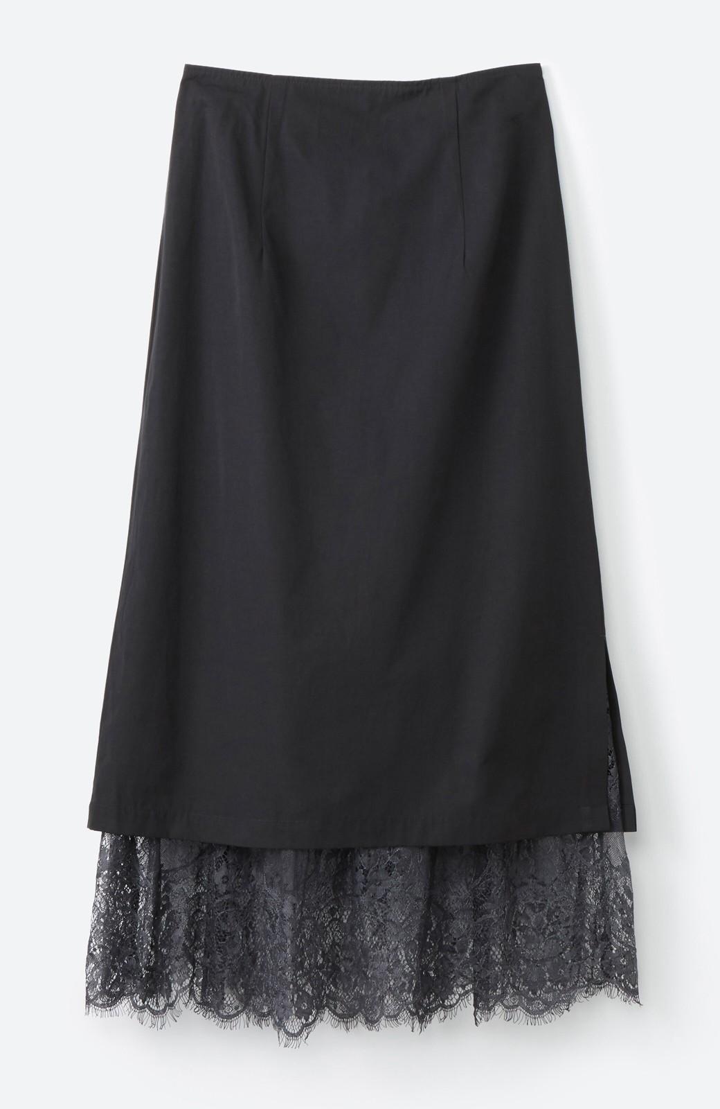 haco! はくだけで華やかなきれいシルエットの重ねタイトスカート by MAKORI <ブラック>の商品写真2