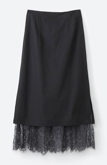 haco! はくだけで華やかなきれいシルエットの重ねタイトスカート by MAKORI <ブラック>の商品写真