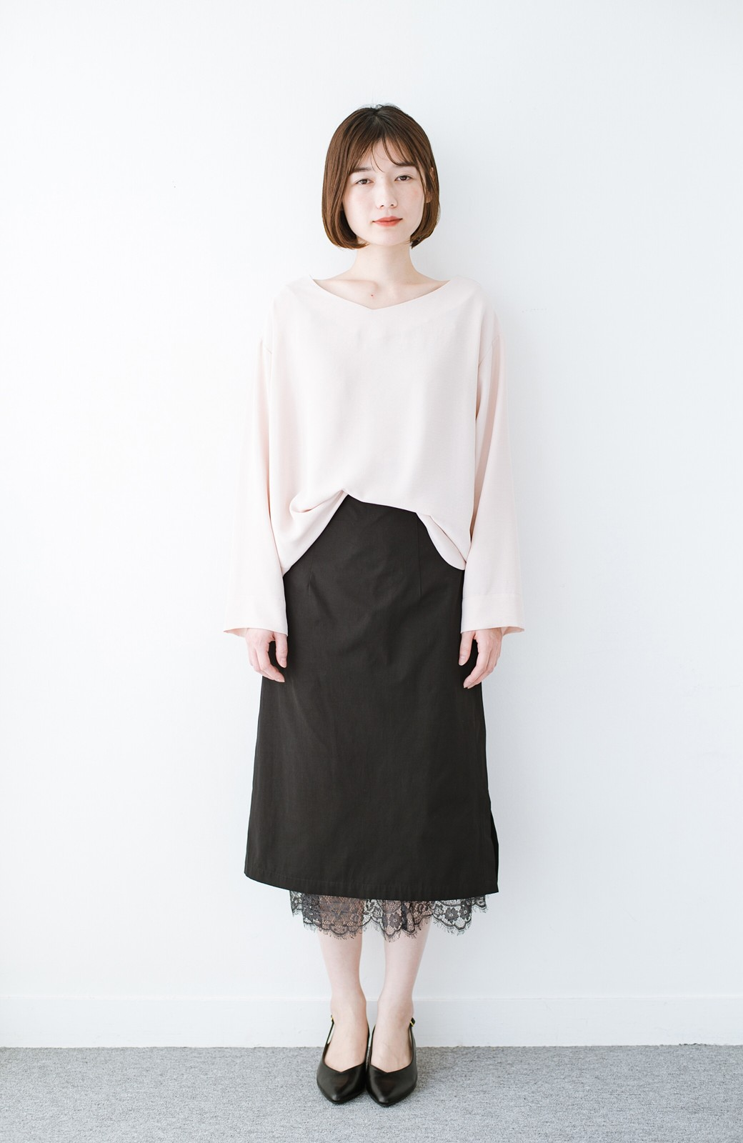 haco! はくだけで華やかなきれいシルエットの重ねタイトスカート by MAKORI <ブラック>の商品写真10