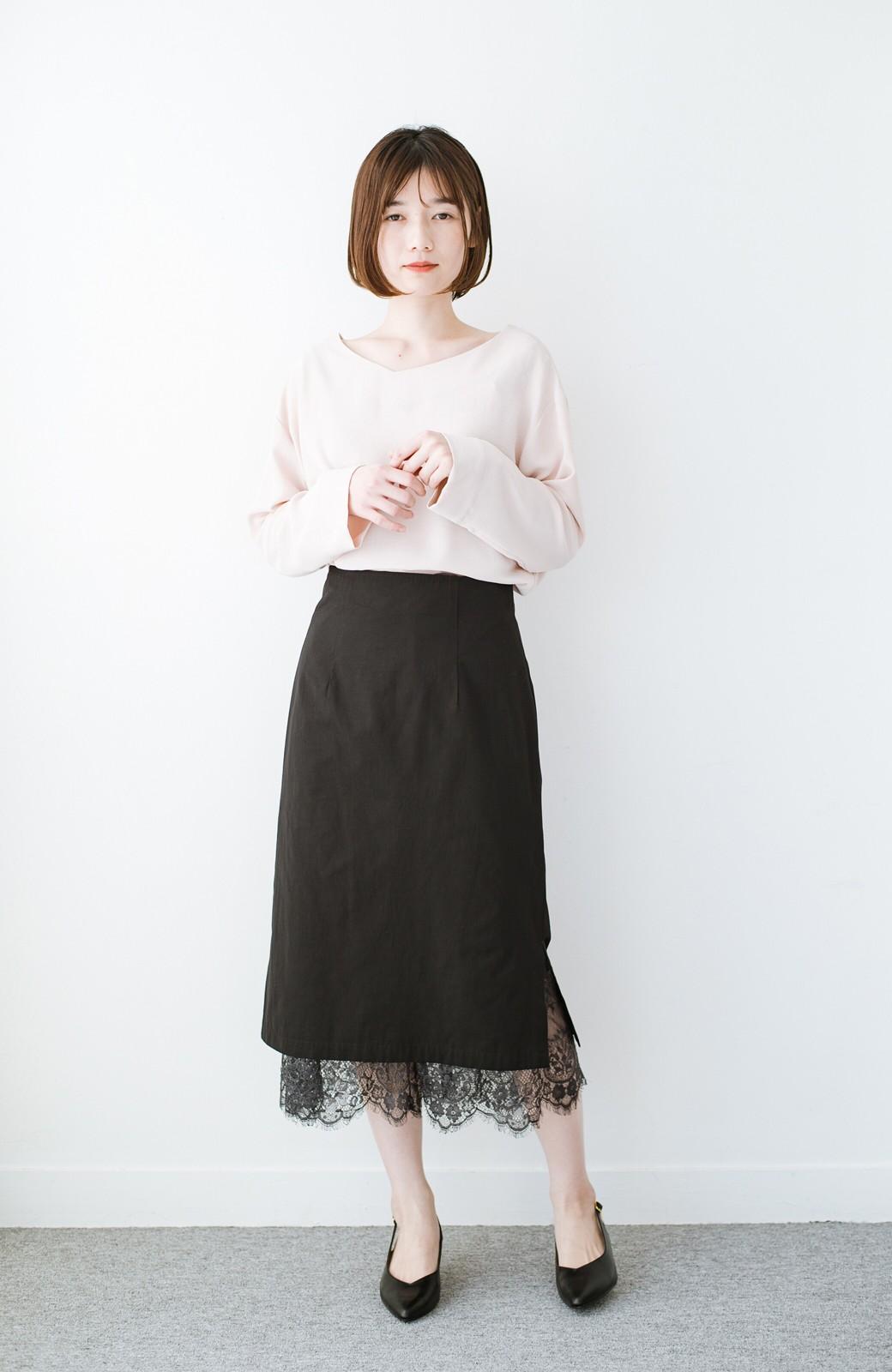 haco! はくだけで華やかなきれいシルエットの重ねタイトスカート by MAKORI <ブラック>の商品写真11