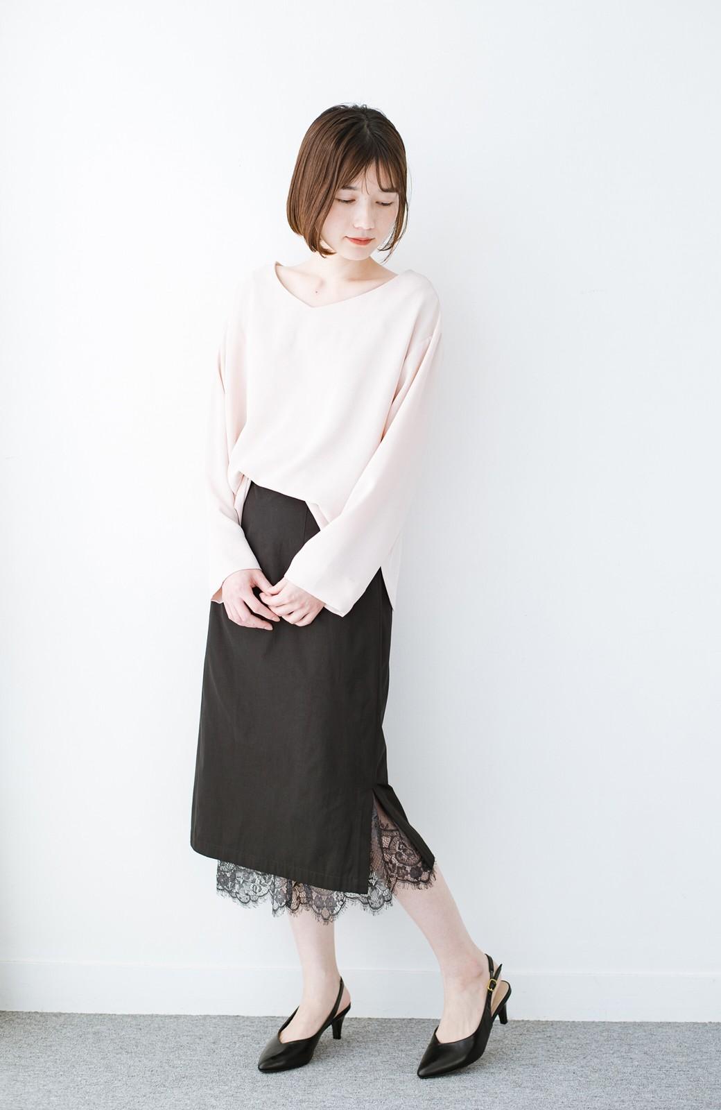 haco! はくだけで華やかなきれいシルエットの重ねタイトスカート by MAKORI <ブラック>の商品写真13
