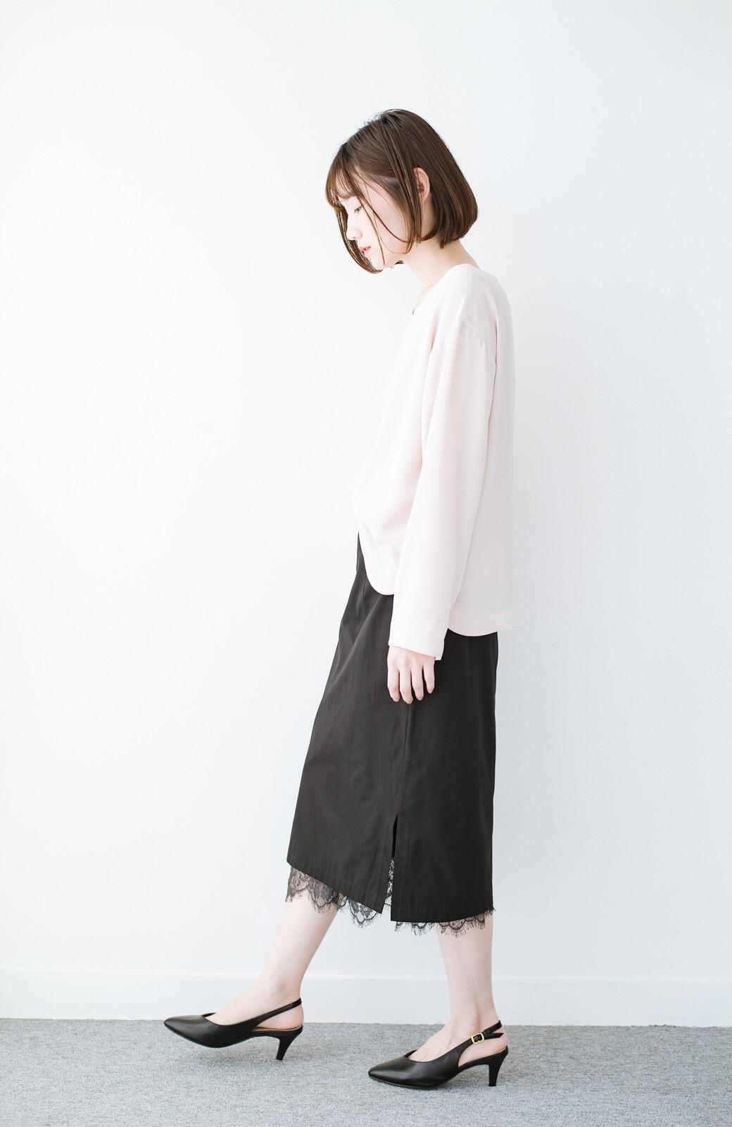 haco! はくだけで華やかなきれいシルエットの重ねタイトスカート by MAKORI <ブラック>の商品写真14