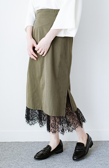 haco! はくだけで華やかなきれいシルエットの重ねタイトスカート by MAKORI <カーキ>の商品写真