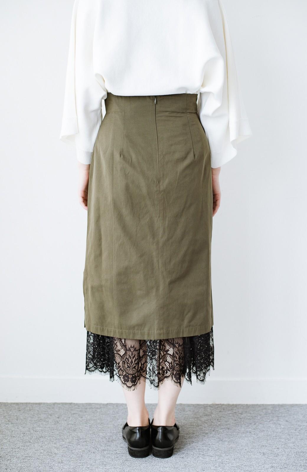 haco! はくだけで華やかなきれいシルエットの重ねタイトスカート by MAKORI <カーキ>の商品写真8
