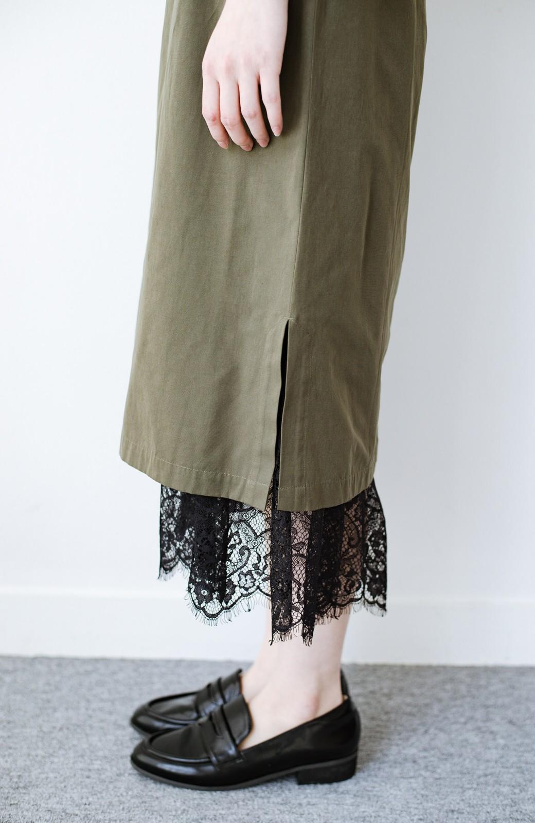 haco! はくだけで華やかなきれいシルエットの重ねタイトスカート by MAKORI <カーキ>の商品写真10