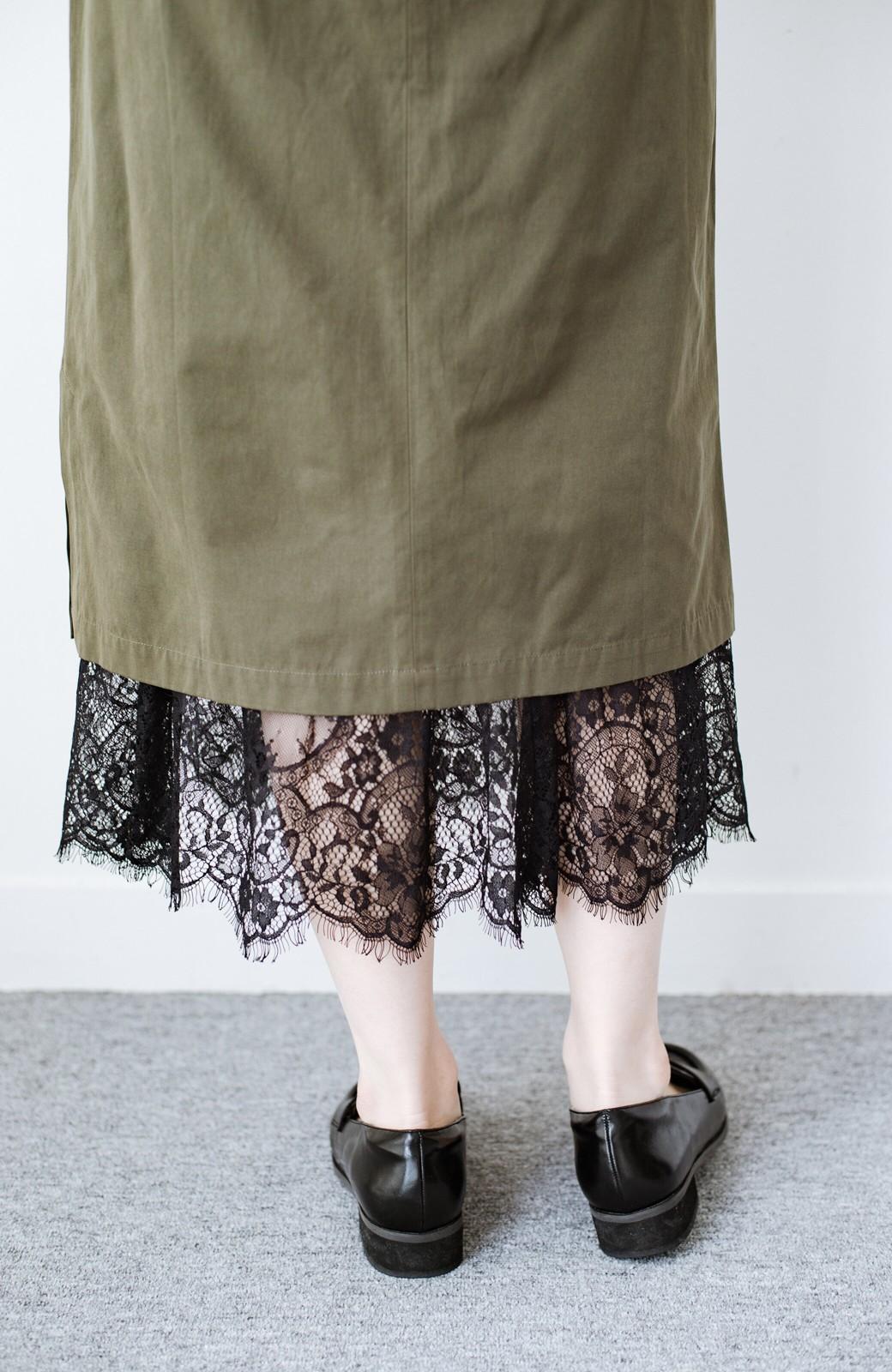 haco! はくだけで華やかなきれいシルエットの重ねタイトスカート by MAKORI <カーキ>の商品写真11