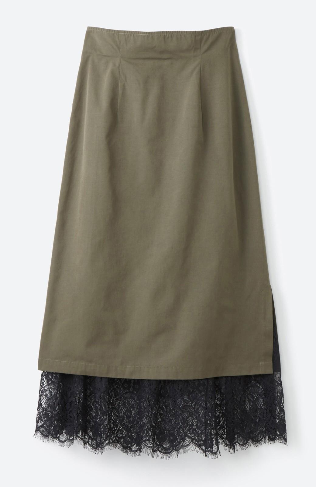 haco! はくだけで華やかなきれいシルエットの重ねタイトスカート by MAKORI <カーキ>の商品写真2