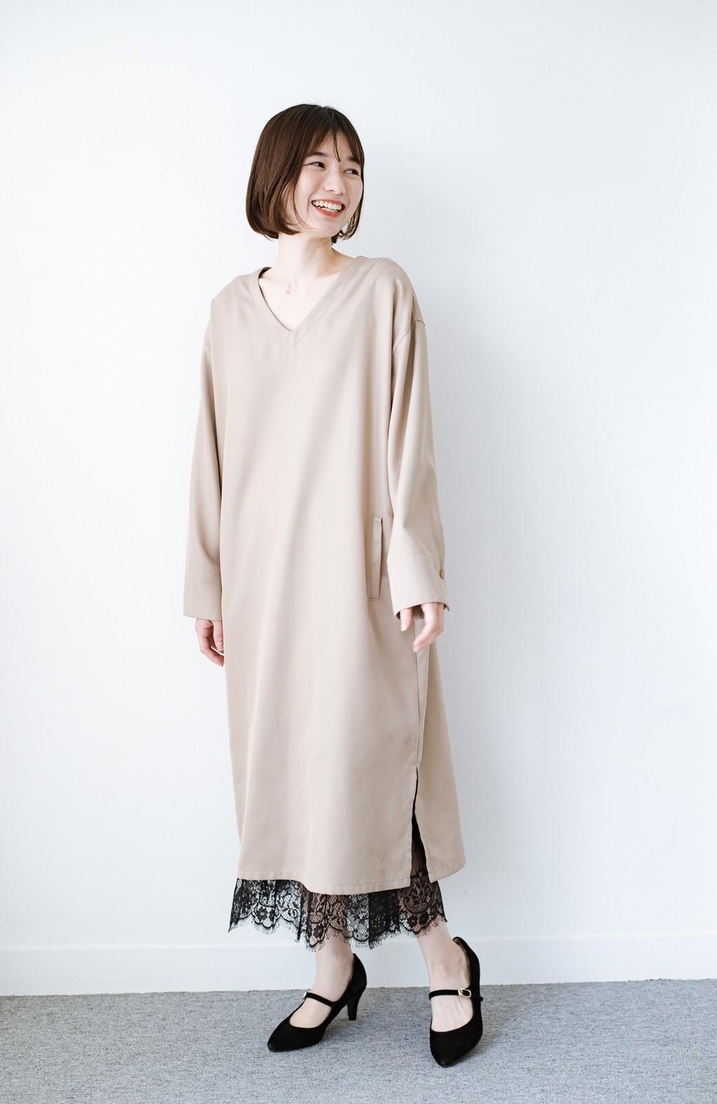 haco! はくだけで華やかなきれいシルエットの重ねタイトスカート by MAKORI <カーキ>の商品写真12