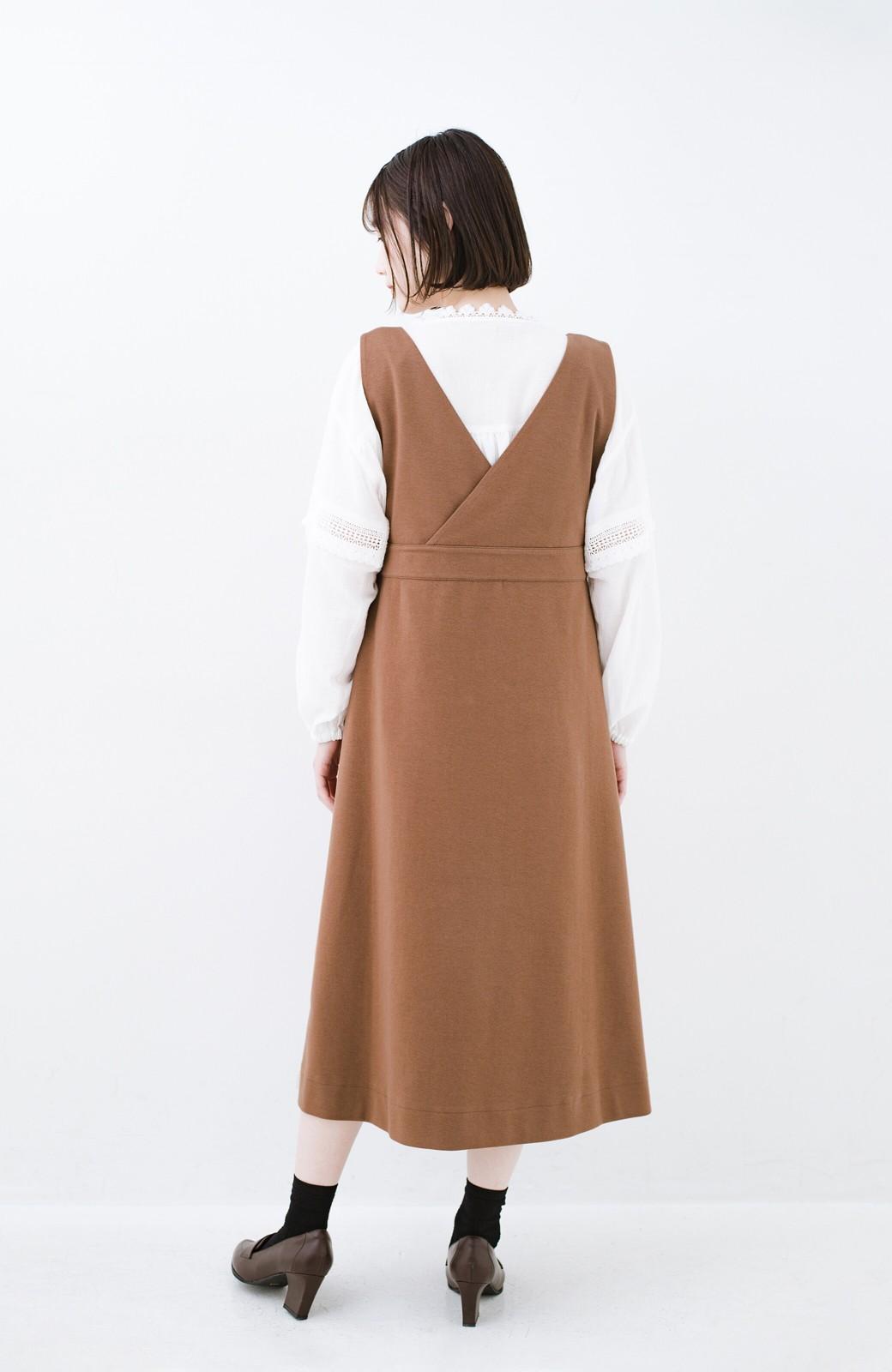 haco! 【ブラック残りわずか!】頑張りすぎずにちゃんとかわいい カットソージャンパースカート <ライトブラウン>の商品写真15