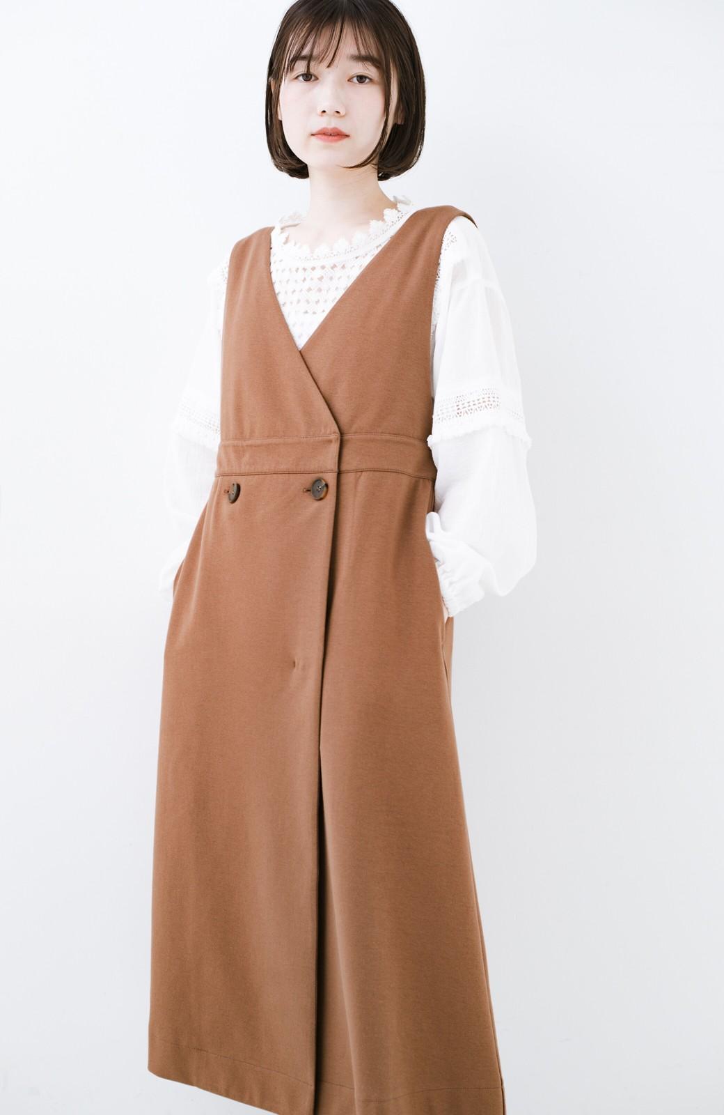 haco! 【ブラック残りわずか!】頑張りすぎずにちゃんとかわいい カットソージャンパースカート <ライトブラウン>の商品写真16